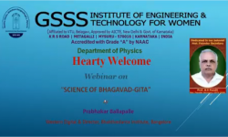 Department of Physics,  GSSSIETW, Mysuru had organised a Webinar titled