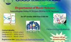 "Department of Chemistry, GSSSIETW, Mysuru had organized a Webinar on  ""SCIENTIFIC PRANAYAMA HELPS TO BEAT THE FEAR OF CORONA VIRUS""  by Smt. Devaki Madhav, Psychologist and Scientific Pranayama practitioner, Mysuru on October 23rd 2020"