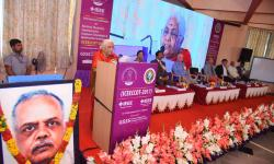 Smt. Vanaja B Pandit, Hon. Secretary, GSSS(R), Mysuru  addressing the audience.