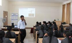 "Technical Session on ""An Insight to the Industry- Information Perspective"" Mr. Jayaram Ramaiah, Head, HR, SKF Technologies, Mysuru,  addressing the students of 2nd semester MBA as a part of the program Ed Bridge- An insight to industry on 28th April 2018"