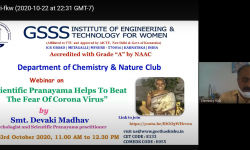 "Department of Chemistry, GSSSIETW, Mysuru had organized a Webinar on  ""Department of Basic science, GSSSIETW, Mysuru had organized an Intercollegiate Online PCM Quiz-2020 for II PU Students held on October 10th 2020"
